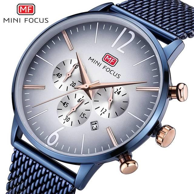 ミニフォーカストップ高級クロノグラフメンズスポーツ腕時計男性クォーツアナログ日付時計男性ステンレス鋼ストラップ腕時計