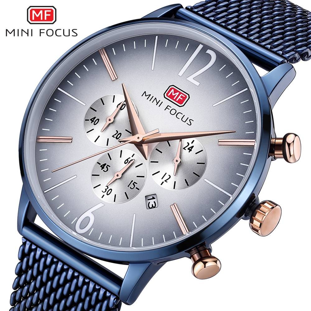 MINI FOCUS Top Brand Luxury Chronograph Men Sports Watches Men Quartz Analog Date Clock Male Stainless Steel Strap Wrist Watch mini focus top brand men stainless steel quartz watch luxury chronograph wristwatch calendar men sports watches male blue clock