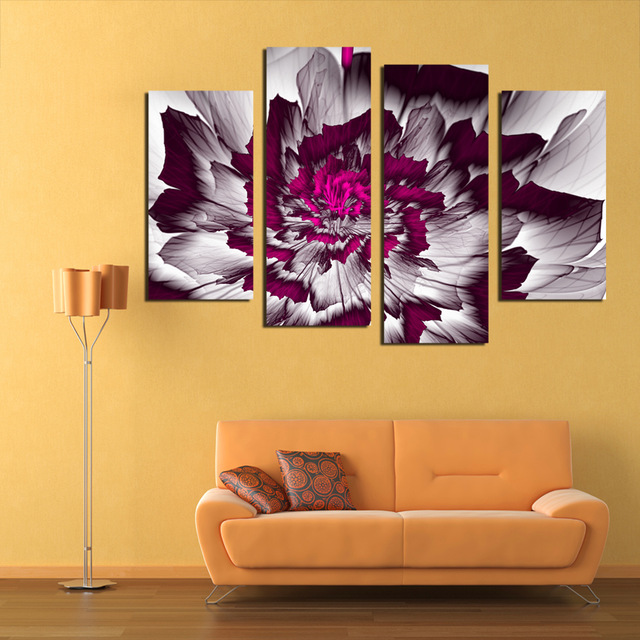 CLSTROSE Abstract Flower Canvas Painting 4 Pieces Wall Art Home ...