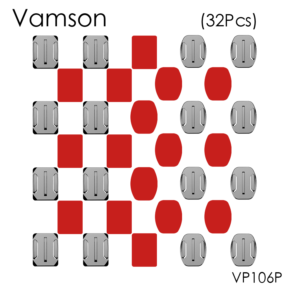 Vamson for Gopro Accessories Mount 16 pcs Flat Curved Mount 16pcs Adhesive for GoPro Hero 5 4 3 for Xiaomi for SJ4000 VP106P