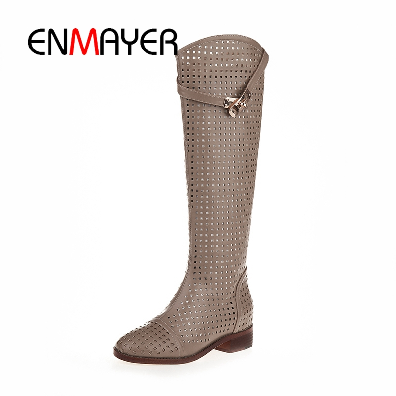 ENMAYER New Fashion round Toe Women Knee High Boots Thick Heels Sexy Cutout Boots Summer Cool Boots Women's Shoes Size 40 CR353 free shipping 2016 women s summer shoes thick heel open toe boots high heels beaded lace cool boots gauze cutout sandals