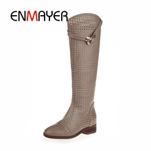 ENMAYER New Fashion round Toe Women Knee High Boots Thick Heels Sexy Cutout Boots Summer Cool Boots Women's Shoes Size 40 CR353 new fashion boots summer cool