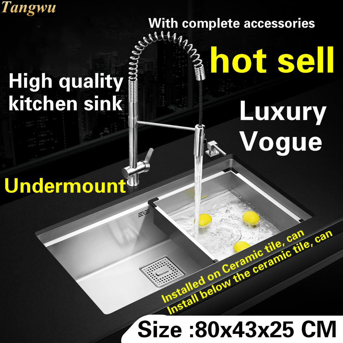 Tangwu Apartment High-grade Large Kitchen Sink  Thick Food-grade 304 Stainless Steel Durable Manual Single Slot 800x430x250 Mm