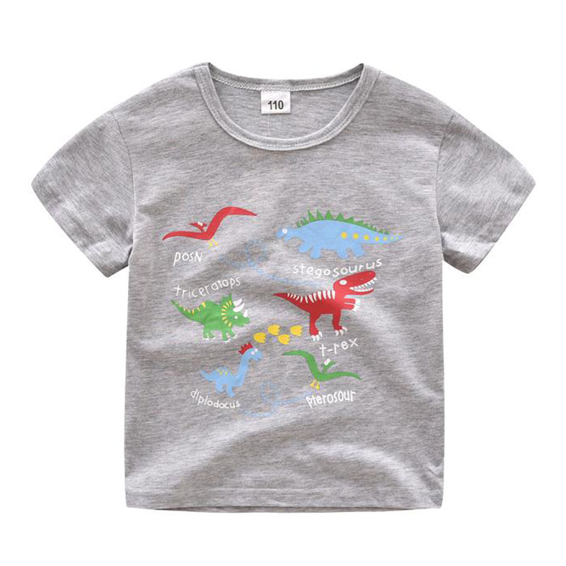 3-6y Casual Fashion Summer Toddler Baby Boys Cotton Style Short Sleeve O-neck Pullover Cartoon Print T-shirts