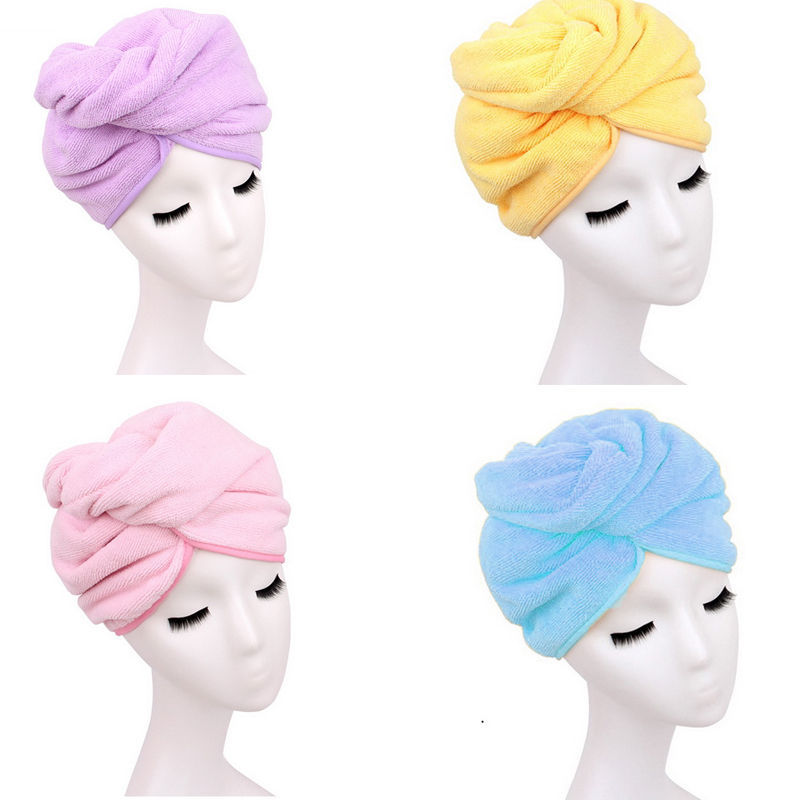 1 pcs Microfiber Bath Towel Cap With Secured Button For Quick Hair Drying 4