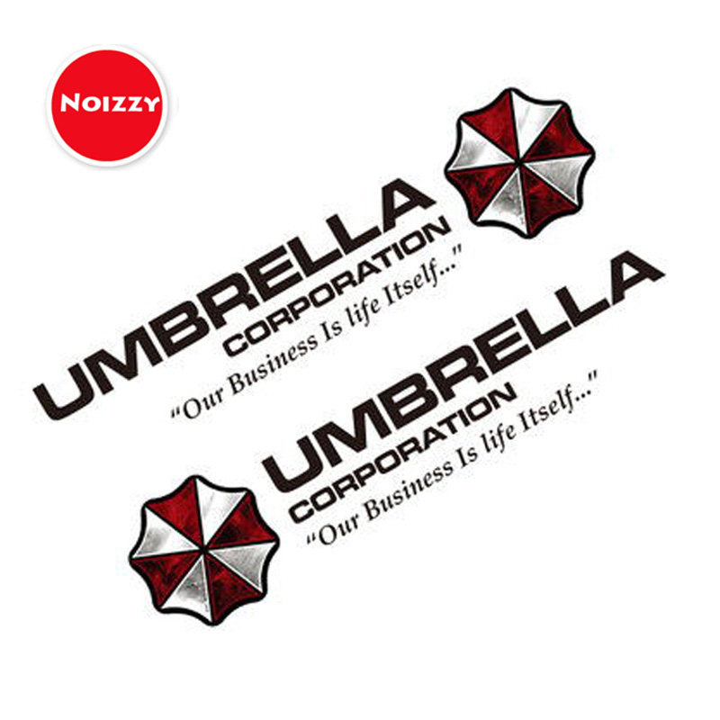 Noizzy 1 Pair Umbrella Corporation Resident Evil Ho Zombie Car Auto Decal Sticker Vinyl Reflective Side Door Logo Car Styling halloween decor sticker 3d transparent car back rear window decal vinyl sticker horror monsters zombie