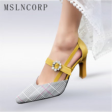 plus size 34-47 Women Sandals High Heel Fashion Summer Office Lady Pumps Zapatos Mujer Crystal Buckle Pointed Toe Party Shoes summer women sandals gladiator sandals women strange metal high heel 9 cm womens shoes 2018 zapatos mujer plus size hl94muyisexi