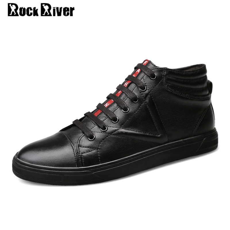 Big Size 38-46 New 2018 Spring Autumn 100% Genuine Leather Shoes Men High Top Shoes Men White Black Luxury Mens Shoes Casual new 2017 men s genuine leather casual shoes korean fashion style breathable male shoes men spring autumn slip on low top loafers