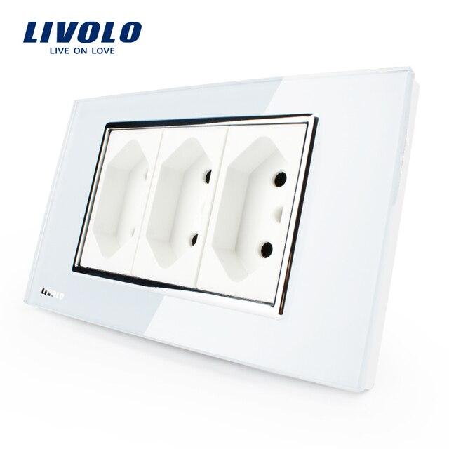 Livolo 3 контактный разъем, 118 мм * 72 мм, 10A, 250 В, белый/черный настенный Powerpoints без вилки, VL-C3C3BIT-81/82, бразильский/Итальянский стандарт