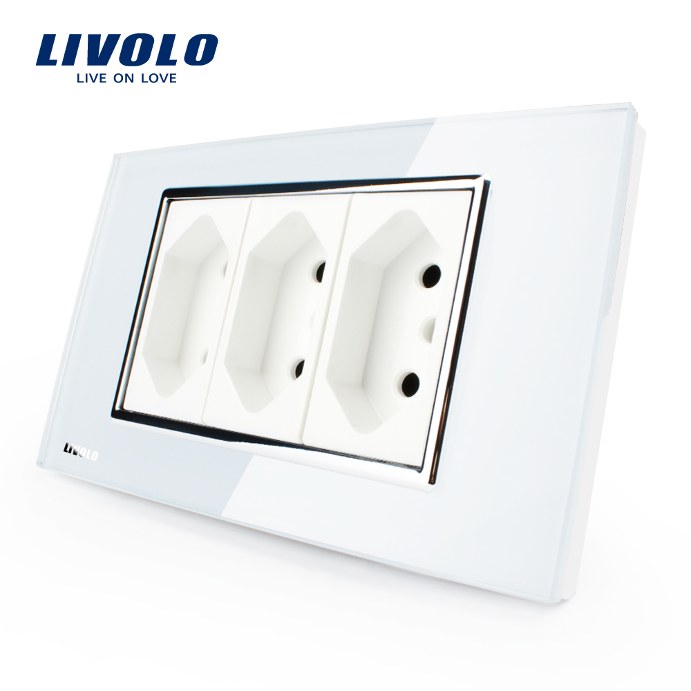 Livolo  3 Pins Socket, 118mm*72mm, 10A, 250V, White Wall Powerpoints With Plug,VL-C3C3BIT-81,Brazilian/Italian Standard livolo us standard 2 pins socket white crystal glass 10a ac 125 230v wall powerpoints with plug vl c3c3a 81