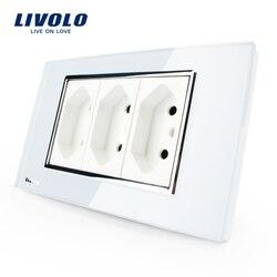 Soquete de 3 pinos livolo, 118mm * 72mm, 10a, 250 v, powerpoints de parede branca/preta sem ficha, VL-C3C3BIT-81/82, padrão brasileiro/italiano