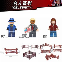 Legoing CELEBRITY figures Donald Trump Elliott The Question & Simulation fence Model Building Blocks Toys for Children Legoing(China)