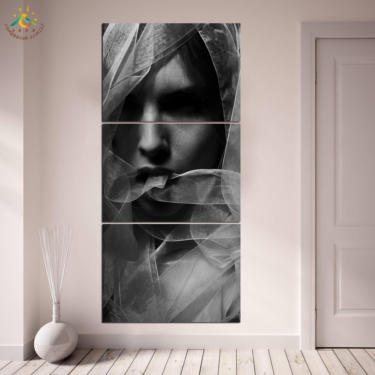 Beauty Black Model Wall Art HD Prints Canvas Art Painting Modular Picture And Poster Canvas Painting Decoration Home 3 PIECES in Painting Calligraphy from Home Garden