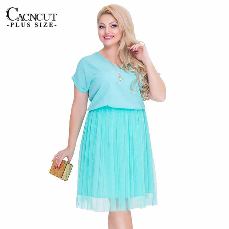 Cacncut新到着 2019 プラスサイズの女性のドレスビッグサイズエレガントな夏ドレス大サイズメッシュドレス女性vestidos 5XL 6XL