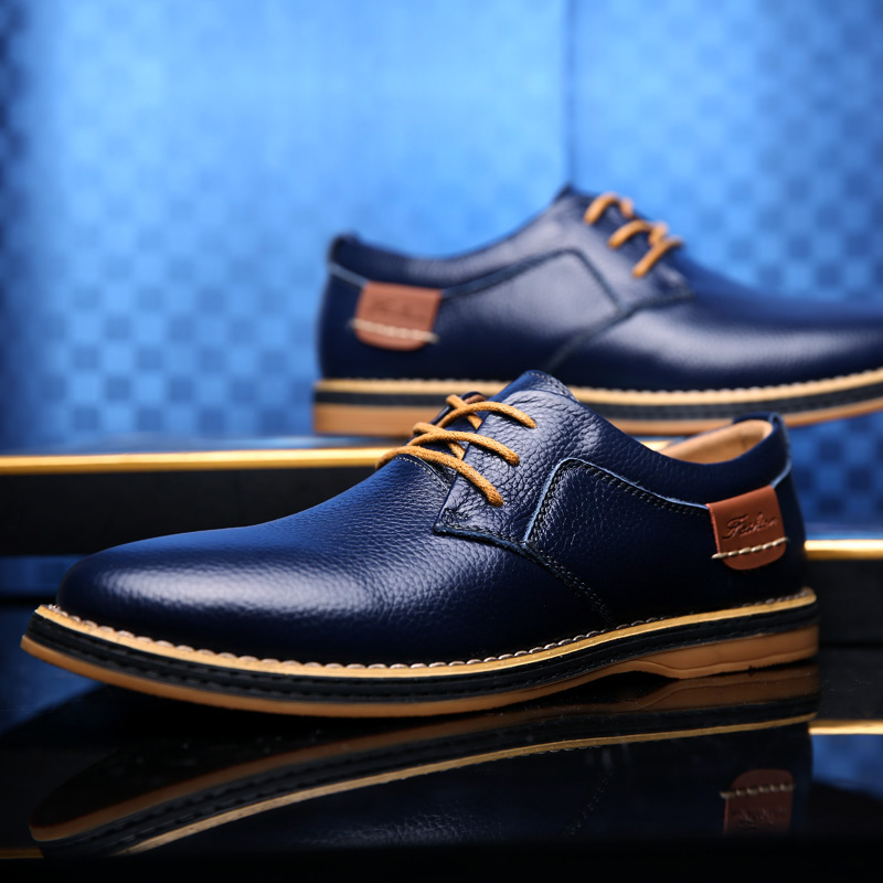 HTB1YUH9c8Gw3KVjSZFwq6zQ2FXam 2019 New Men Oxford Genuine Leather Dress Shoes Brogue Lace Up Flats Male Casual Shoes Footwear Loafers Men Big Size 39-48