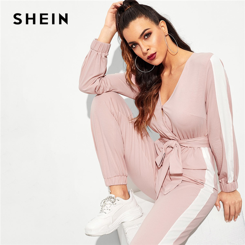89f2ef18d77 SHEIN Hot Pink Contrast Side Seam Wrap Striped Mid Waist Jumpsuit With Belt  Women Maxi Deep V Neck Long Sleeve Jumpsuit