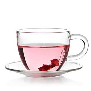 Tea-Cup Saucer-Set Glass Clear Heatproof 4 Utensils Kongfu JP Handmade Hot-Selling 1065