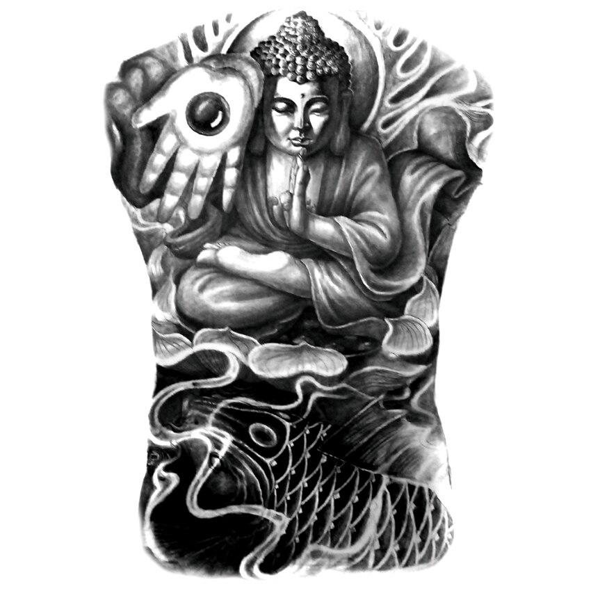 34 * 48cm 블랙 임시 문신 카쇼 Shakyamuni Tathagata 부처님 문신 스티커 가짜 불교 문신 전체 다시