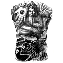 34*48cm Black Temporary Tattoo Cassock Shakyamuni Tathagata Buddha Tattoo Stickers Fake Buddhist Tattoos for Full back(China)