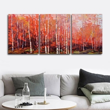 Laeacco 3 Panel Graffiti Autumn Maple Forest Posters Prints Canvas Calligraphy Painting Wall Art Nordic Home Living Room Decor