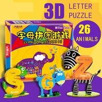 26pcs Letter Cognitive Puzzles 3D Animal Puzzles Paper Children Educational Toys Handmade DIY Toys