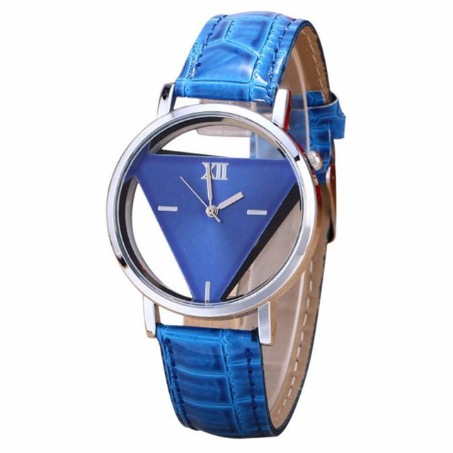 Aimecor Mens Womens Fashion Unique Hollowed-out Triangular Dial Blue Casual Watc