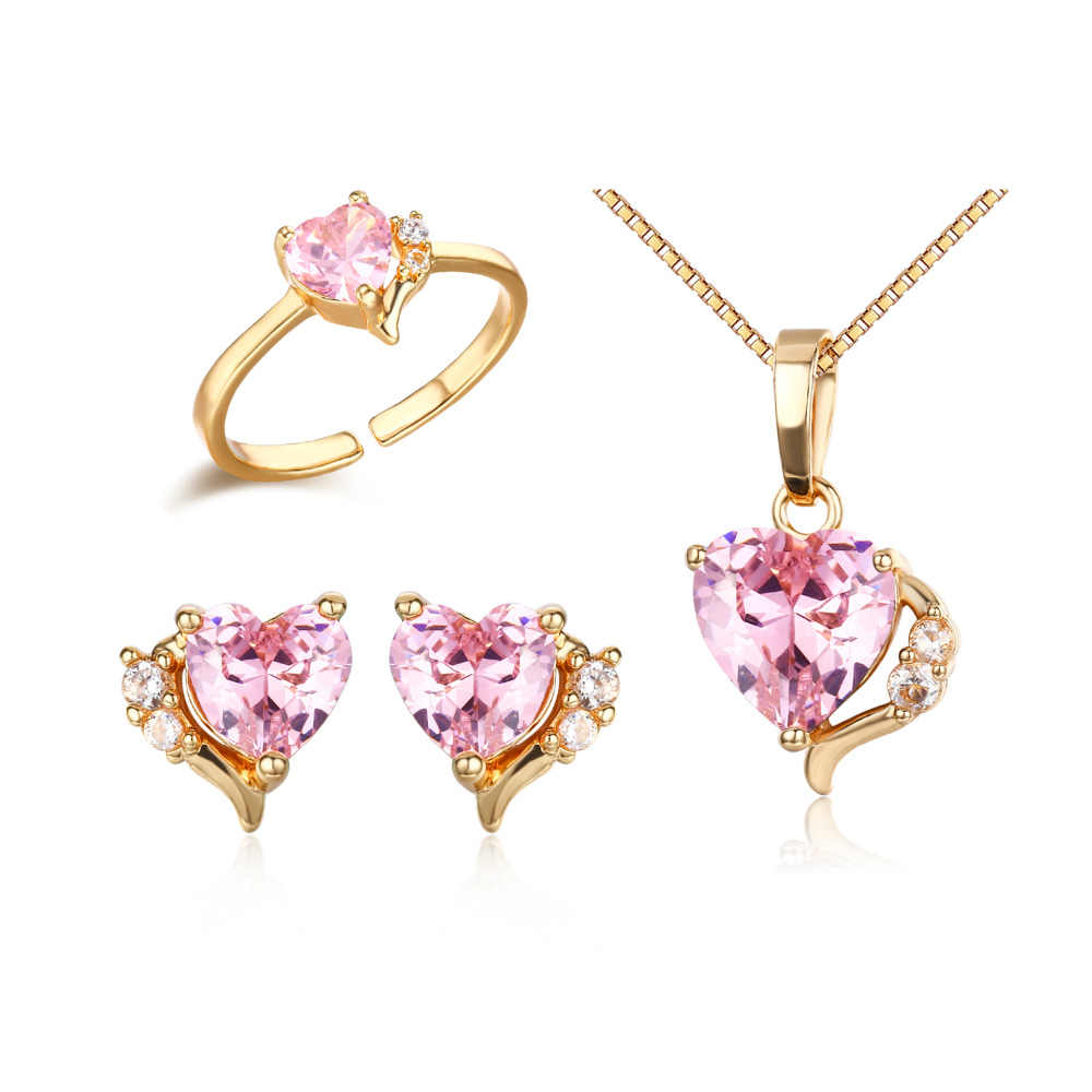 Cute Gold Color Peach Heart Pink CZ Zircon Pendant Necklace Stud Earrings Ring Small Jewelry Sets for Children Girls Kids Baby