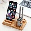 FLOVEME Бамбука Кронштейн Колыбель Зарядки Док-Станции Мобильный Телефон Зарядное Устройство Стенд держатель Для iPhone 6 6 S Plus 5 5S Для Apple Watch