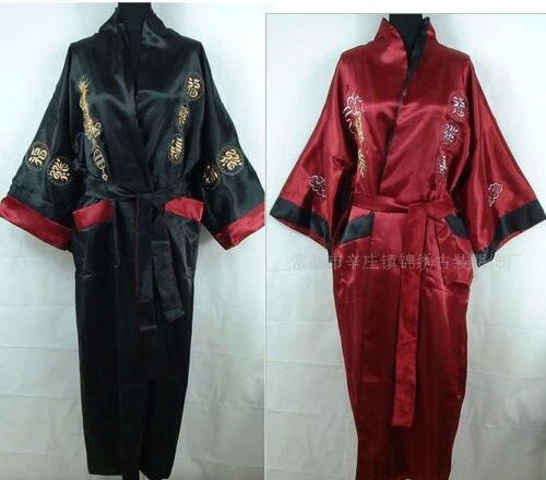 Chinese Style Men s Double-Face Reversible Kimono Robe Gown Embroidery  Dragon Sleepwear 0e70740b8
