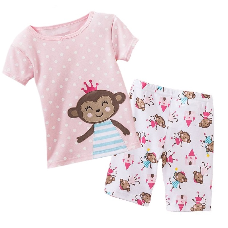Jumping Beans Baby Girls Clothes Sets Short Sleeve Suits Monkey T-Shirts Short Pants Outfits Girls Dress