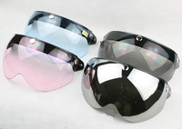 Hot koop Vintage helm half gezicht vizier lens 3 knop W shield vizier spiegel Uv vizier lens fit voor TORC T-50 helm