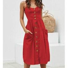 Boho Solid Color Cotton Dress Women Casual Sleeveless V Neck Red Sundress Midi Dress Female Beach A-line Dress Vestidos 2019 women s chic sleeveless solid color v neck a line dress