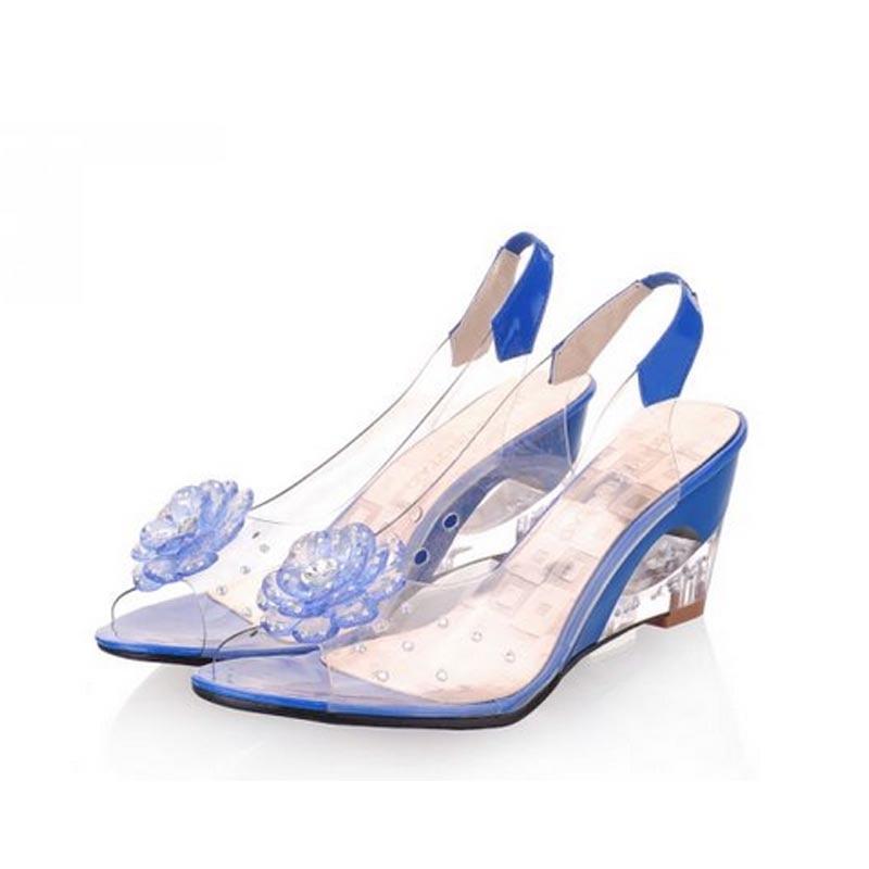 73f3b773495 US $22.72 24% OFF|2017 women sandals transparent pvc open toe clear shoes  woman wedges fashion flower rhinestone ladies sandal plus big size 34 43-in  ...