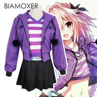 Biamoxer Fate Apocrypha Astolfo Cosplay Costumes Pink Wig Women Purple Jacket Spring Coat For Halloween Party