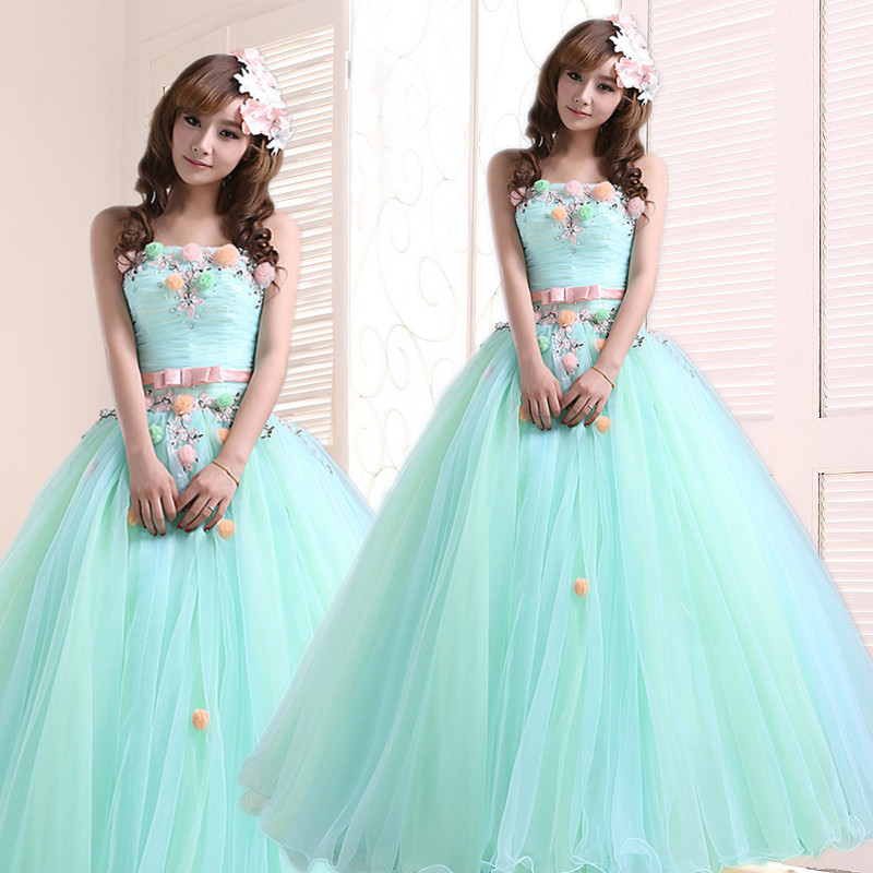 Long Quinceanera Dresses 2019 New Girls Sweet Lace Beading Flower Light Green Strapless Performance Dress Plus