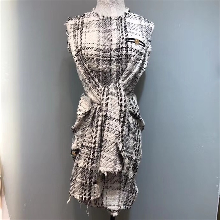 European station coco woven edging yarn tweed luxury gold thread sleeves waist tie sleeveless dress 0721
