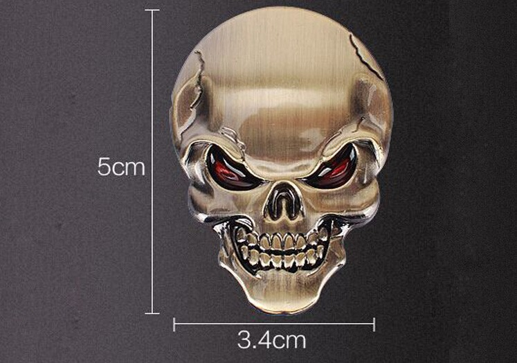 DSYCAR 3D Metal Skull Car Sticker Logo Emblem Badge Decals Car Styling for Fiat Bmw Ford Lada Audi opel volvo Honda Toyota Benz 11