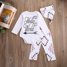 Newborn Baby Girls Clothes Cotton Romper Pants Headband Hat 3pcs Outfits Set