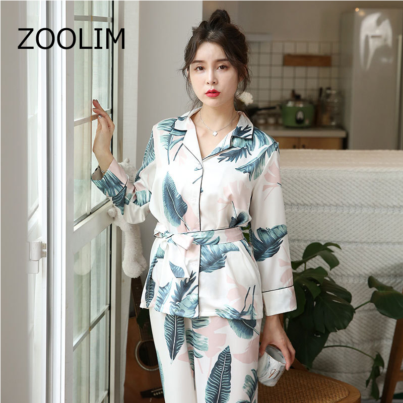 ZOOLIM Autumn Women Silk   Pajama     Sets   Satin Pyjamas Fashion Sleepwear Two Pieces+belt Female Homewear Print Sleep Lounge