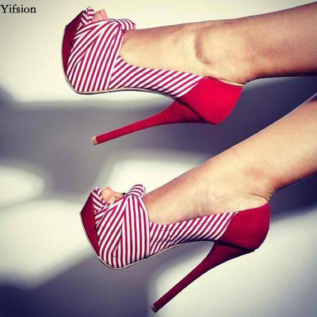 Olomm Women Platform Pumps Stiletto High Heels Pumps Butterfly Knot Peep Toe Black Red Striped Shoes