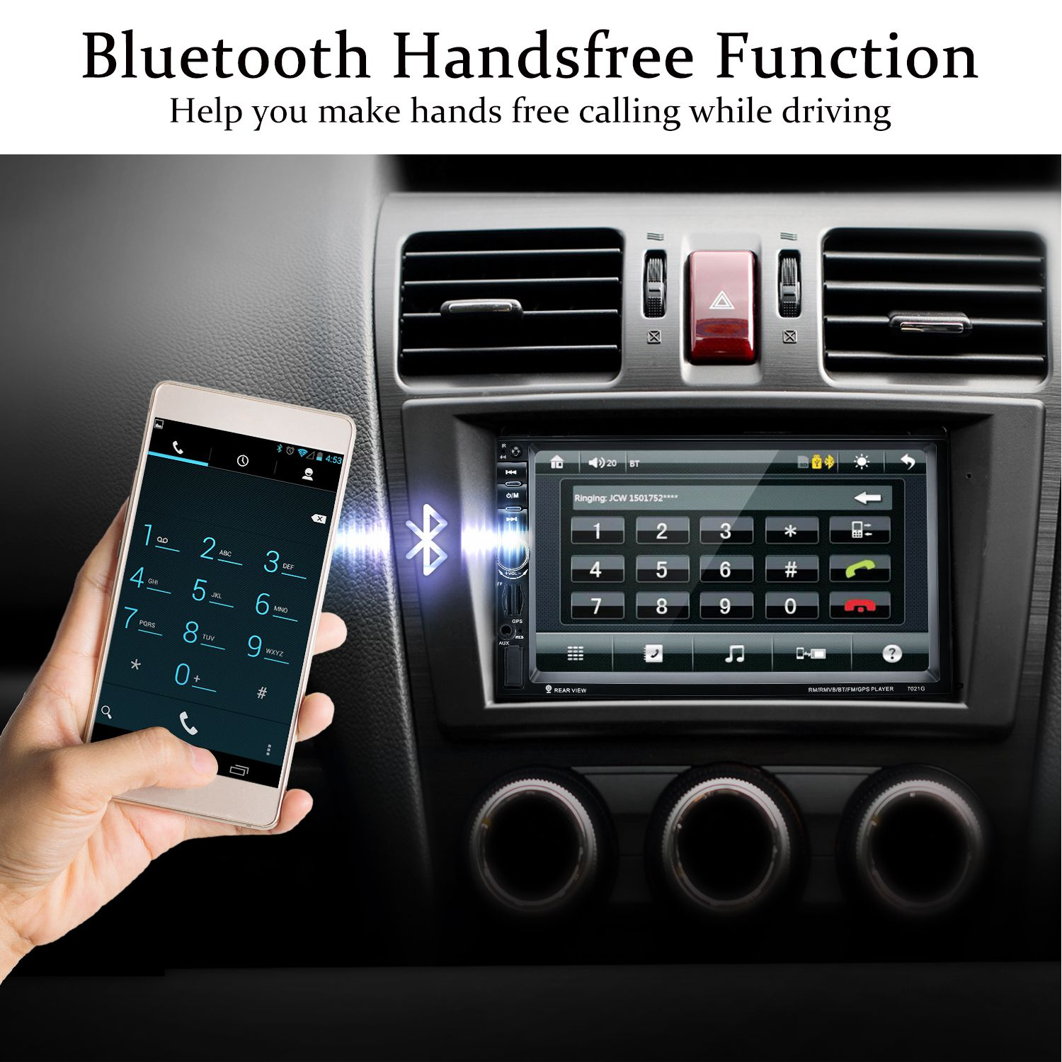 <font><b>7021G</b></font> 2 Din Car MP5 Player 7inch Touch Screen With Radio GPS EU Map Function SD USB AUX Rear View Steer Wheel Control Car Play image