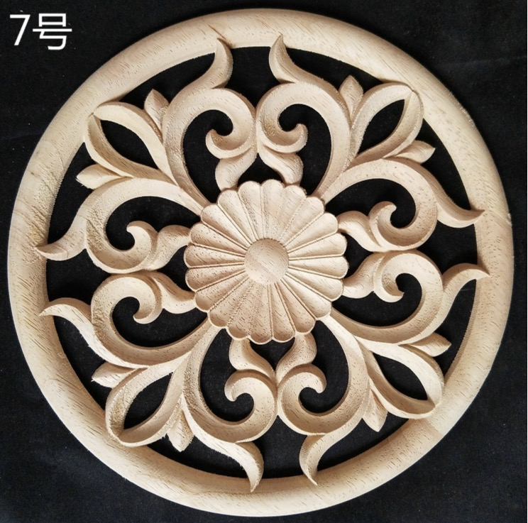 2Pieces/Lot Diameter:150mm Thickness:8-10mm  Wood carved Circular Decals Applique Home Furniture Decorative