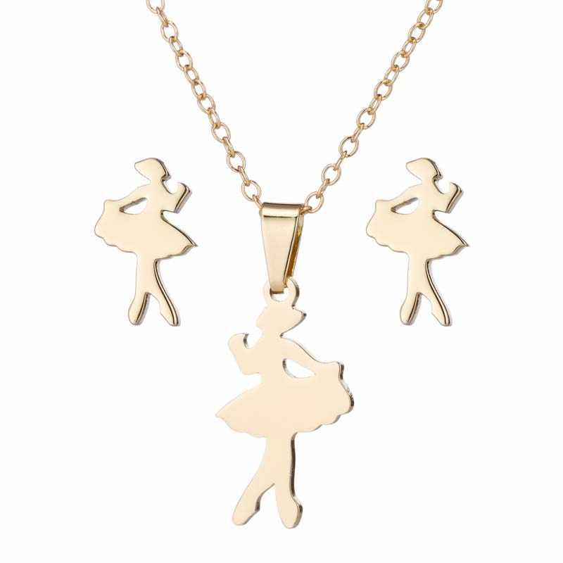 Yiustar נירוסטה חמוד מיני בלט שרשרת לנשים בנות ילדים יום הולדת מתנה רומנטי רקדנית עגילי תכשיטי סט