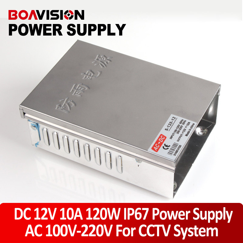 IP67 Waterproof LED Switching Power Supply DC 12V 10A 120W Transformer AC 110/220V Input Work With CCTV Cameras 4pcs 12v 1a cctv system power dc switch power supply adapter for cctv system