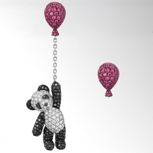 Имя Марка Же Стиле Crystal ювелирные изделия Шар Panda Серьга Асимметричной Качества Роскоши Циркон Серьги