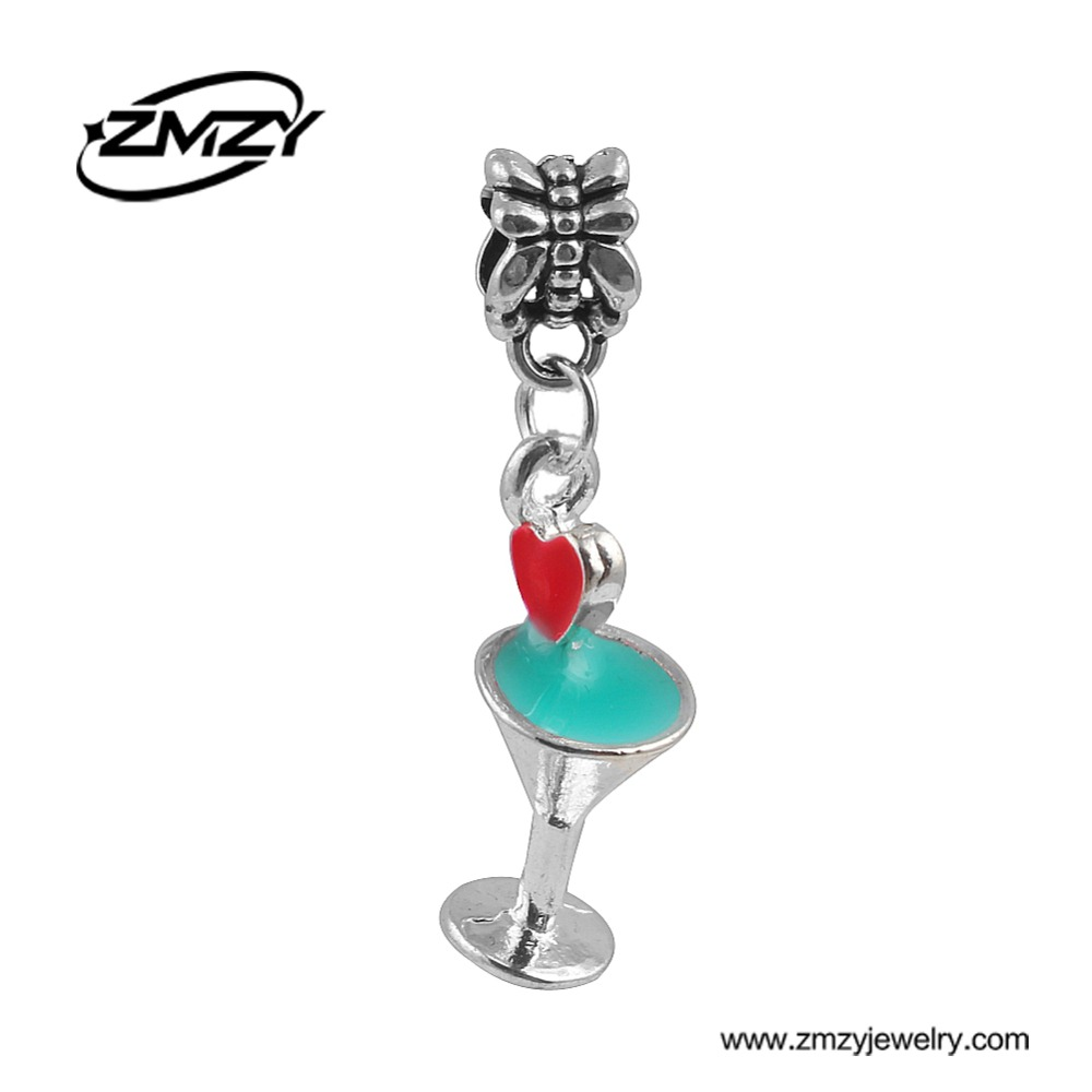 High Quality Silver Plated Original Heart Cup Charms Beads Fit Pandora Charm Bracelet Pendants For Women DIY Jewelry