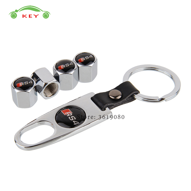 For RS4 Logo Stainless Steel Car Tire Stem Valve Caps Auto Wheel Air Covers with Keychain for Audi RS4 TT Sport A3 B6 Q7 C5 RS3