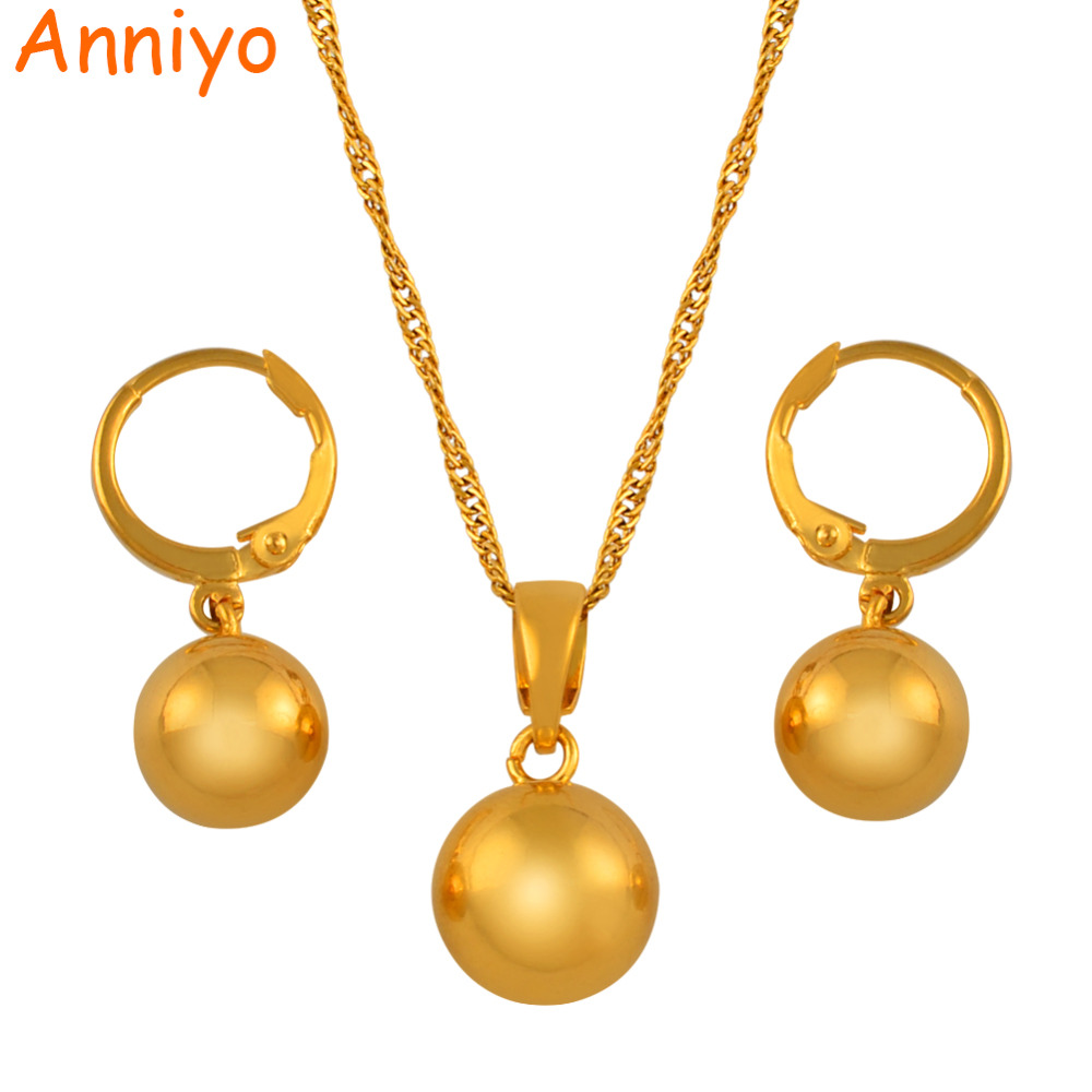 Anniyo Gold Color Beads Necklace Earrings <font><b>for</b></font> <font><b>Women</b></font> Girls,Charm <font><b>Jewelry</b></font> <font><b>sets</b></font> Round Ball Necklaces African,Arab,<font><b>Nigeria</b></font> #133106 image