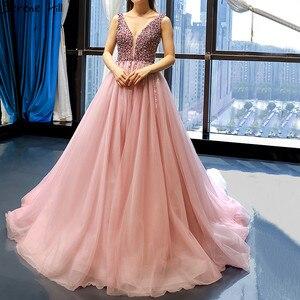 Image 1 - Dubai Design rouge haricot Sexy robes de soirée 2020 paillettes cristal sans manches étincelle robe formelle vraie Photo 66713