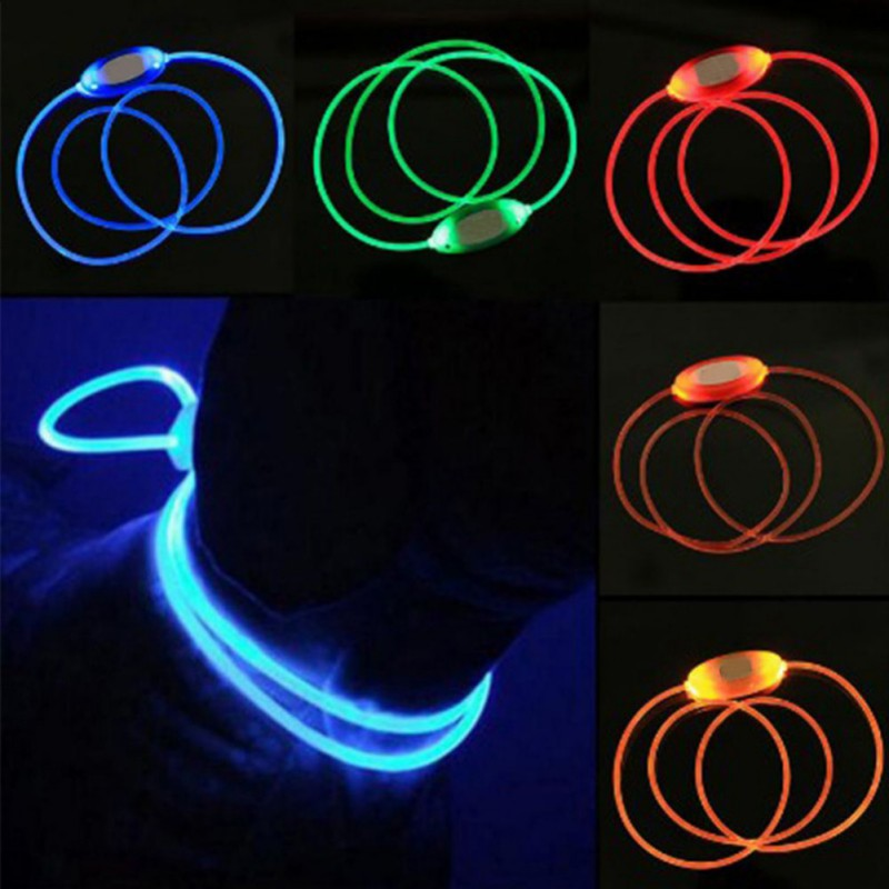 Adjustable Luminous Solid LED Light Up Night Safety Pet Collar Tag Bright Flashing Pet Dog Collar leash harness Dogs Accessories
